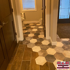 hexagon tile joining to wood tile