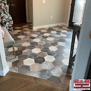 hexagon tile in entryway